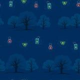 seamless textur Aftonträdgård med stearinljus Vektor Illustrationer