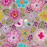 Seamless textur med blommor och fåglar. Fotografering för Bildbyråer