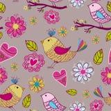 Seamless textur med blommor och fåglar Arkivbild