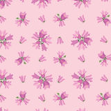 Seamless textur med rosa blommor stock illustrationer