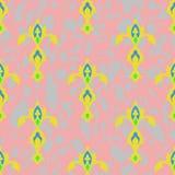seamless textur Prydnad av gul - gröna bilder på ett rosa - grå bakgrund royaltyfri illustrationer