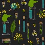 seamless textur Rör och växter på svart Stock Illustrationer