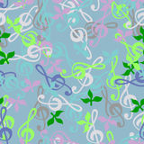 Seamless texture. Of a musical key. Bright background of the children's music and leaves Royalty Free Stock Image