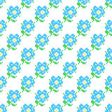 Seamless texture with abstract embroidered blue flowers Stock Images