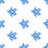 Seamless texture with abstract embroidered blue flowers. Seamless isolated texture with abstract blue embroidered flowers for tablecloth. Embroidery. Cross Stock Images