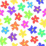 Seamless texture with abstract embroidered color flowers. Seamless isolated texture with abstract color embroidered flowers for cloth. Embroidery. Cross stitch vector illustration