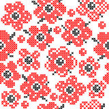 Seamless texture with abstract embroidered red flowers. Seamless texture with abstract red embroidered flowers with buds and leaves for tablecloth. Embroidery royalty free illustration