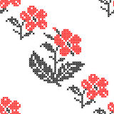 Seamless texture with abstract embroidered red flowers. Seamless texture with abstract red embroidered flowers carnations for cloth. Embroidery. Cross stitch royalty free illustration