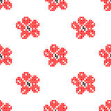 Seamless texture with abstract embroidered red flowers. Seamless texture with abstract red embroidered flowers for cloth. Embroidery. Cross stitch vector illustration