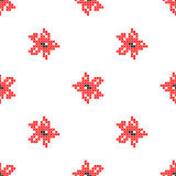 Seamless texture with abstract embroidered red flowers Stock Images