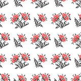 Seamless texture with abstract embroidered red flowers. Seamless isolated texture with abstract red embroidered flowers with leaves for cloth. Embroidery. Cross Stock Photography
