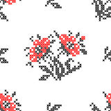 Seamless texture with abstract embroidered red flowers. Seamless isolated texture with abstract red embroidered flowers with leaves for cloth. Embroidery. Cross Stock Images