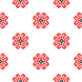 Seamless texture with abstract embroidered red flowers. Seamless isolated texture with abstract red embroidered roses for tablecloth. Embroidery. Cross stitch Stock Photo