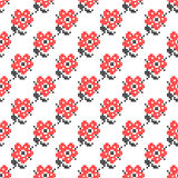 Seamless texture with abstract embroidered red flowers. Seamless texture with abstract red embroidered flowers roses for cloth. Embroidery. Cross stitch vector illustration