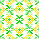 Seamless texture with abstract embroidered yellow flowers. Seamless isolated texture with abstract yellow embroidered flowers for cloth. Embroidery. Cross stitch vector illustration