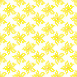 Seamless texture with abstract embroidered yellow flowers. Seamless isolated texture with abstract yellow embroidered flowers for tablecloth. Embroidery. Cross vector illustration
