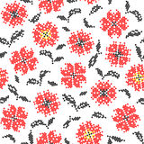 Seamless texture of abstract flat red black flowers. With embroidery royalty free illustration