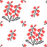 Seamless texture of abstract flat red black flowers. Lily of the valley royalty free illustration