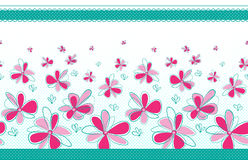 Seamless texture with abstract flowers, borders and polka dots. On transparent background. Swatch is included in vector file vector illustration