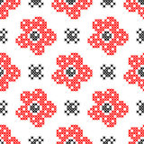 Seamless texture with abstract flowers. Seamless texture with abstract red flowers with buds for tablecloth. Embroidery. Cross stitch vector illustration