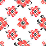 Seamless texture with abstract flowers. Seamless texture with abstract red flowers with for tablecloth. Embroidery. Cross stitch stock illustration