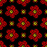 Seamless texture with abstract flowers. Seamless texture with abstract red, yellow flowers on black background. Embroidery. Cross stitch stock illustration
