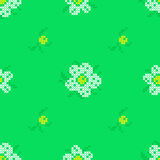Seamless texture with abstract flowers. Seamless texture with abstract white and yellow flowers with green leaves for tablecloth. Embroidery. Cross stitch stock illustration