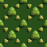 Seamless texture with abstract trefoils on a green background. 3D render stock illustration