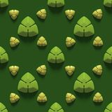 Seamless texture with abstract trefoils on a green background. 3D render royalty free illustration