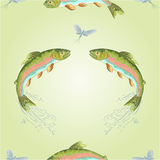 Seamless texture  American trout jumps  vector Stock Photography