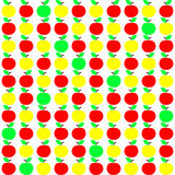 Seamless Texture with Apple in Green, Yellow and Red Colors. Harvest.  Autumn Background. Vector Illustration Royalty Free Stock Image