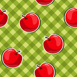Seamless texture with apple. Seamless texture with red apples on a green table Royalty Free Stock Photos