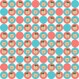 Seamless Texture with Baby Faces in Blue and Pink Circles Stock Photos