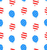 Seamless Texture Balloons for Independence Day. Illustration Seamless Texture Balloons for Independence Day of America, US National Colors - Vector Stock Photo