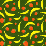 Seamless texture with bananas and strawberries Stock Image
