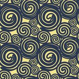 Seamless texture based on dark blue lines spirals imitating past. A on a beige background. Vector Stock Illustration