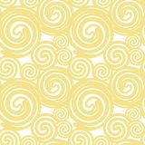 Seamless texture based on yellow ocher gold lines spirals imitating pasta on a white background. Vector. stock illustration
