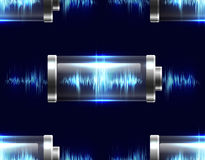 Seamless texture with batteries with electric charge. Resonance, pulse. Vector pattern for your creativity Royalty Free Stock Image