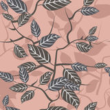 Seamless texture with beautiful leaves ornament. Vector illustration Royalty Free Stock Photo