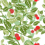 Seamless texture with beautiful leaves ornament. Vector illustration Stock Image