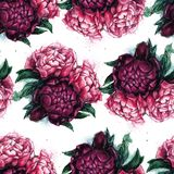 Seamless texture with beautiful peonies. Watercolor illustration with flowers. Gentle style. Repeating background. Tile pattern Stock Photo