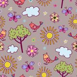 Seamless texture with birds and flowers. Royalty Free Stock Image