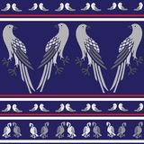 Seamless texture with birds kite, dove, eagle. Colors blue, red, white stock illustration