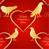 Seamless texture birds Pigeons and heart valentines place for text red background vintage vector illustration editable. Hand draw stock illustration