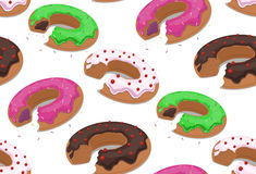 Seamless texture with a bite donuts into the glaze and grit. Vector background for your creativity Royalty Free Stock Images