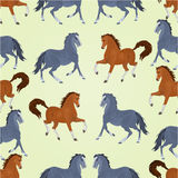 Seamless  texture black and auburn horses stallions vector Stock Photo