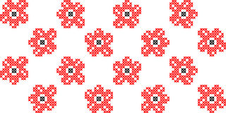 Seamless texture with black and red flowers. Embroidery. Seamless isolated texture with abstract red embroidered flowers for tablecloth. Embroidery. Cross stitch Royalty Free Stock Photos