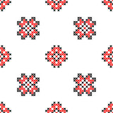 Seamless texture with black and red ornaments. Embroidery.Cross Stock Images