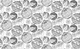 Seamless texture with black and white Christmas balls. Decorated with doodle pattern for your creativity Royalty Free Stock Photography