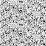 Seamless texture with black and white doodle hearts Stock Photo